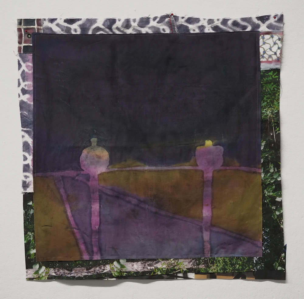 "Two Signs at Dusk  dye, assorted fabrics, thread, beads  20x20""  2016"