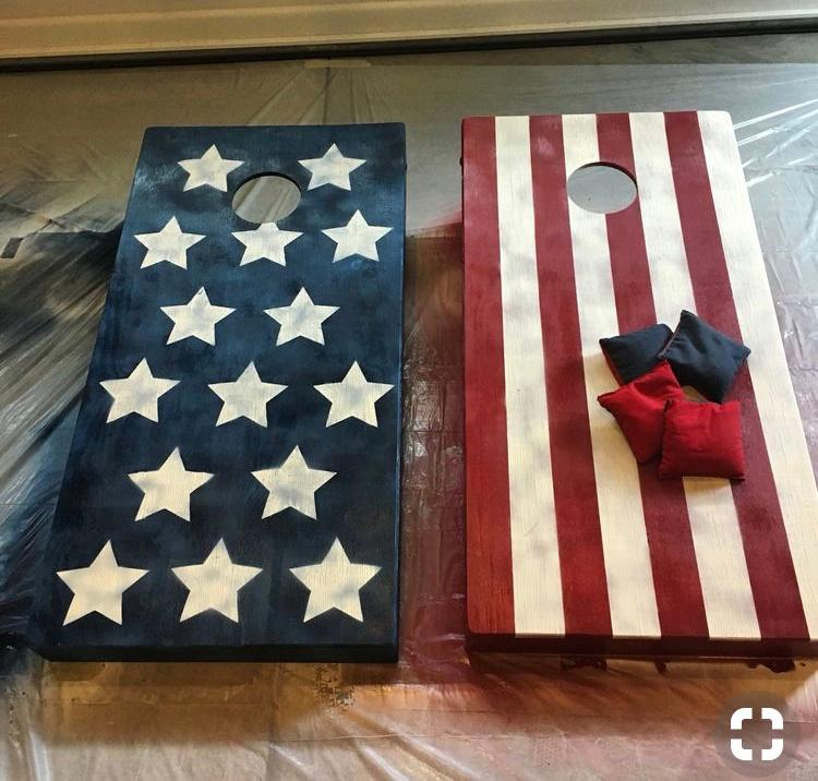 All American Corn Hole Set made with with pride by Jeff Smith along with his son, Adam.