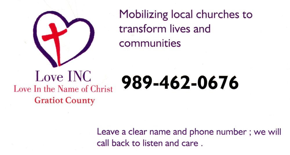 Gratiot County partner churches have now opened their phones to referral for those in need. We utilize the county resources and our partner church volunteers to lovingly walk towards personal and community transformation.