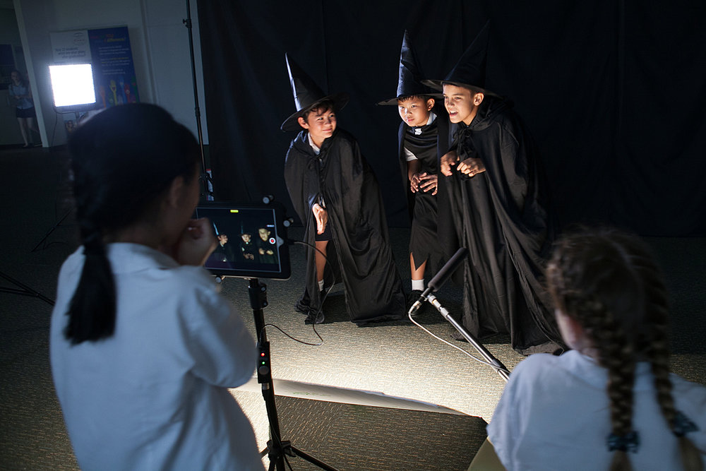 Year 6 students film the opening of Macbeth in the unit 'Shakespeare on Film'.