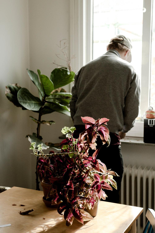 Rasmus planterade om sina blommor. Minuten efter fotot togs bröts jag sönder hans stickling av misstag. Det blev jättedålig stämning.