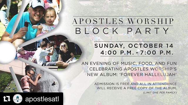 Come hang out with us!! We can't wait!  #Repost @apostlesatl ・・・ Join us next Sunday as we celebrate the release of  new album, Forever Hallelujah, with an evening of music, food, and fun. Admission is free to all and all in attendance will receive a free copy of the album!