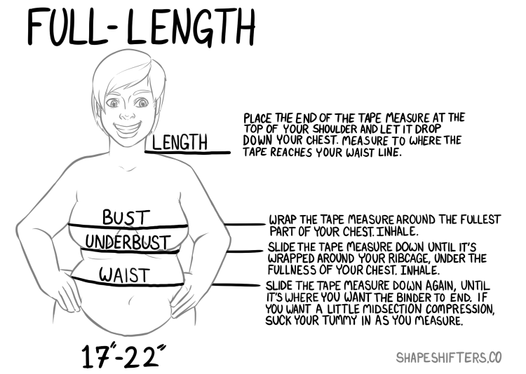 Full Length - LENGTH -- Lying down if possible, place the end of the tape measure at the top of your shoulder and let it drop down your chest. Measure to where the tape reaches your waist line.BUST -- Wrap the tape measure around the fullest part of your chest. Inhale.UNDERBUST -- Slide the tape measure down until it's wrapped around your ribcage, under the fullness of your chest. Inhale.WAIST -- Slide the tape measure down again, until it's where you want the binder to end. If you want a little midsection compression, suck your tummy in as you measure.