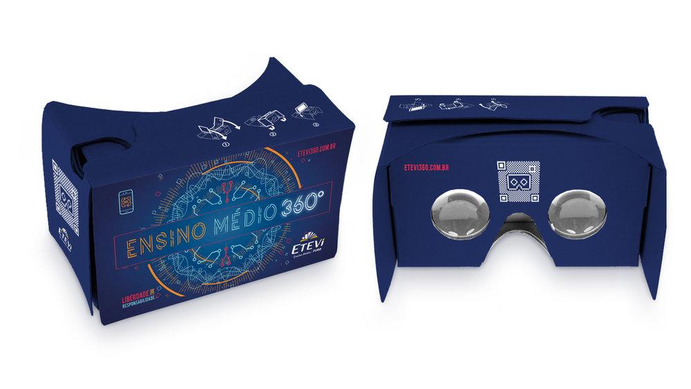 Cardboard - entregue nas escolas de ensino fundamental para visualização do vídeo 360°