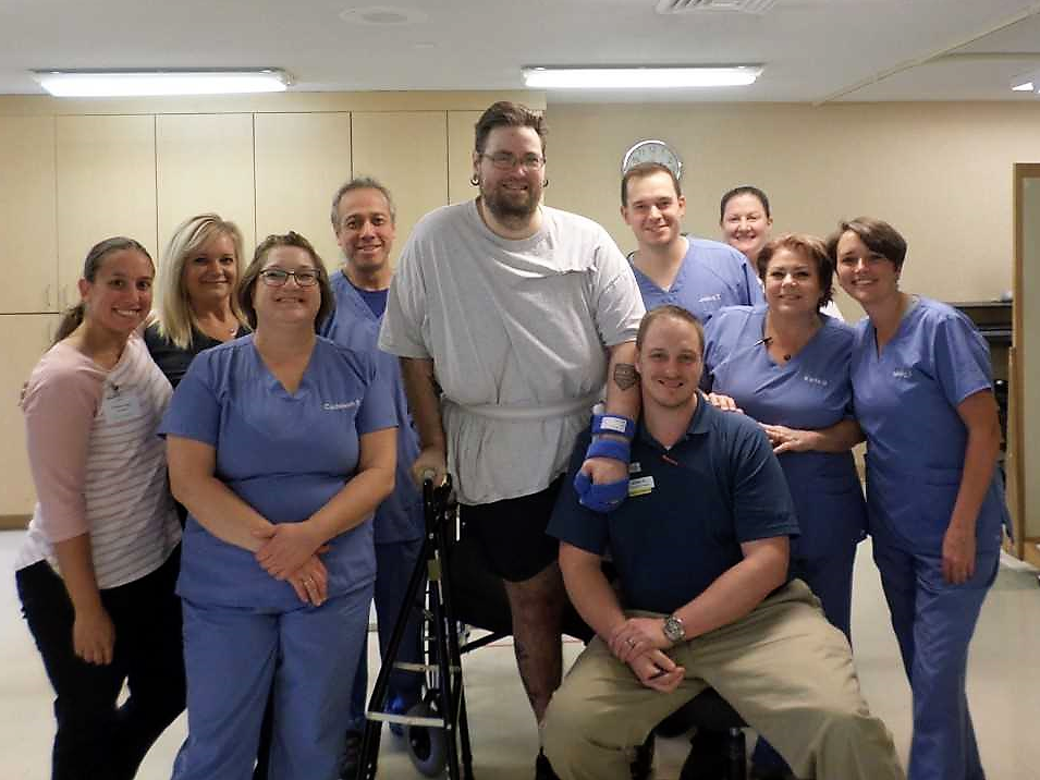 John Webster, pictured with his therapy team at SKLD Beltline.