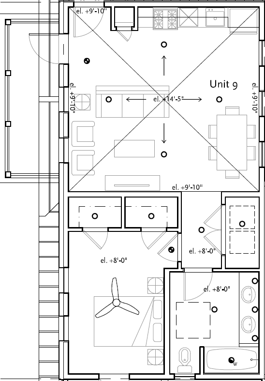 Unit 9 - 1 Bd - 873 sf