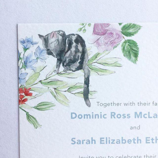 The top corner detail of a recent wedding invitation, featuring a treasured pet. #illustratedweddingstationery  #studiofoster #weddinginspiration #weddingplanner #creative #engaged #dailydoseofpaper #weddingstationery #weddinginvitations #engaged #bespoke #shesaidyes #weddingplanner #heputaringonit #ohwowyes #futuremrs #bride #invitation #beautiful #bespoke #brideandgroom #theknot #thatsdarling #watercolour #weddingstyle #weddingtime #aisleperfect #calligraphy