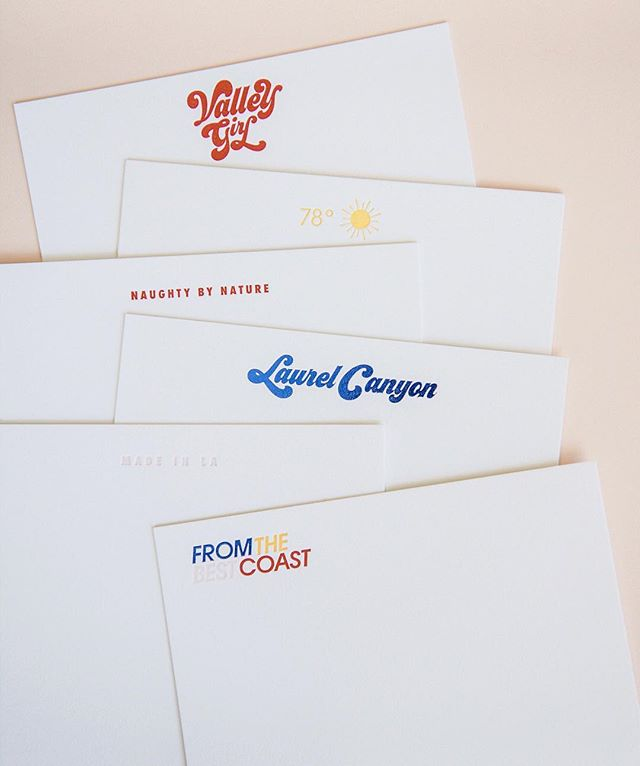 Our LA Story stationery collection. Letterpress and metallic foil on 184# cotton paper #madeinla #stationery . . . . .  #colormehappy #thatcolorproject #myunicornlife #hellocolor #fromabove #californiadreaming #discoverla #pursuepretty #abeautifulmess #makersmovement #dslettering #handlettering #typographyinspired #typematters #typespire #handtype #letteringlove #ilovelettering #letteringdaily #letteringco #letteringartist #letteringdesign #togetherweletter #strengthinletters #stationeryaddict #stationerylove #paperaddict