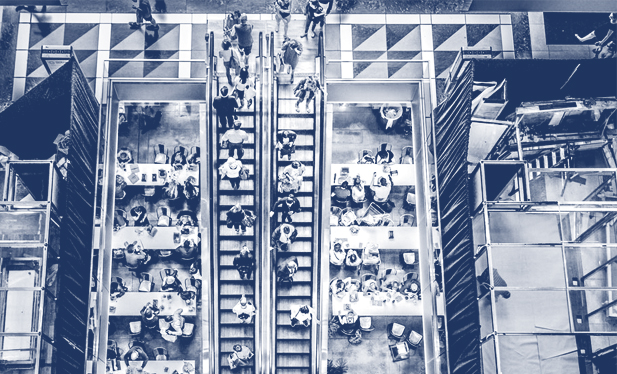 Overhead View of People Sitting at Tables