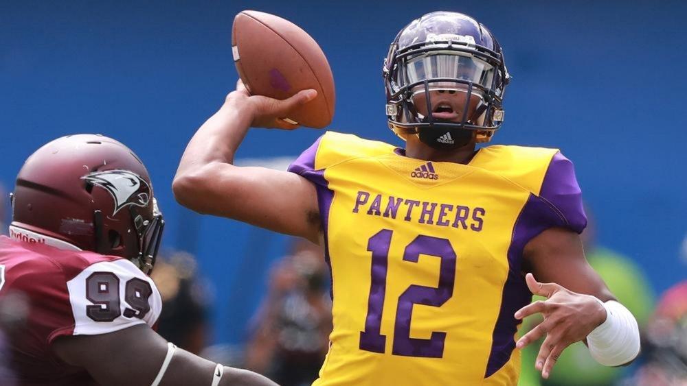 Prairie View A&M quarterback Jalen Morton(Curtis Compton/ccompton@ajc.com)