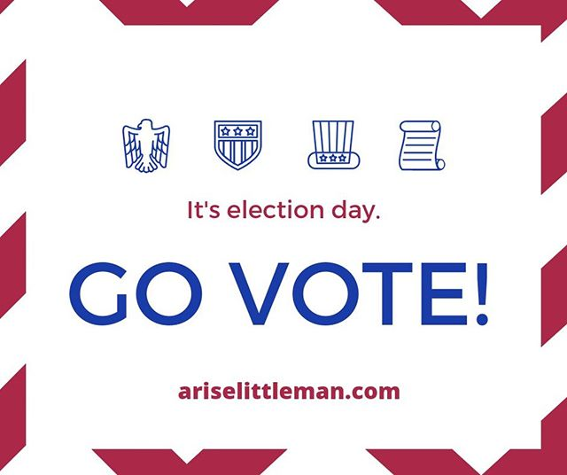 Get out there and exercise your right to vote! Your children may not be old enough to vote themselves yet, so they're looking to you. #Vote #AriseLittleMan