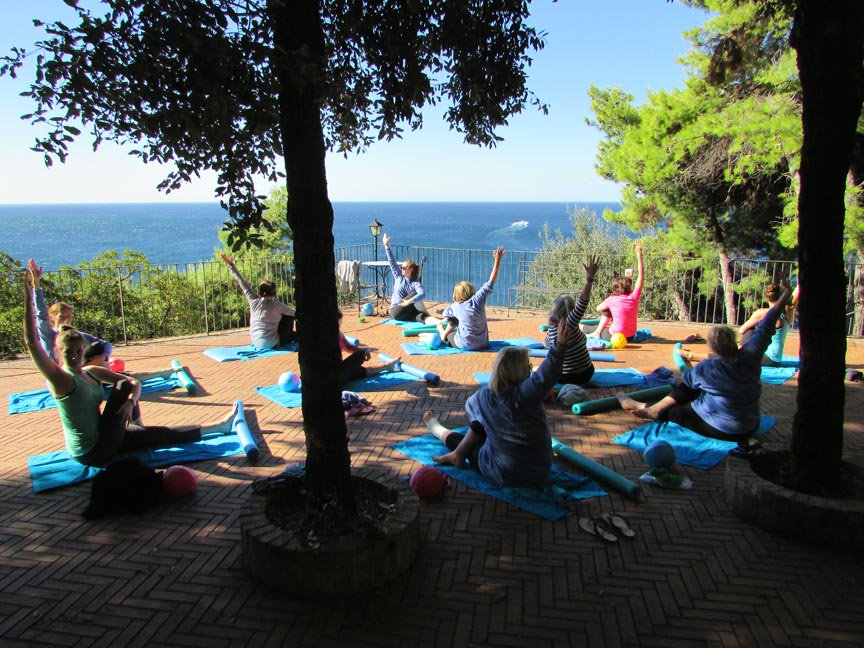 Core Retreat 2016 - Maiori, Italy Pilates session overlooking Mediterranean Sea
