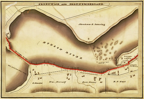 An 1830's canal survey map. The red line illustrates the towpath location.