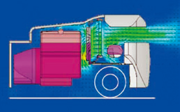 Cooler running through improved airflow: Optimal positioning of the fan,radiator and muffler has reduced the operation coolant temperature. (gasoline models) the operating temperature of the hydraulic oil has been reduced.