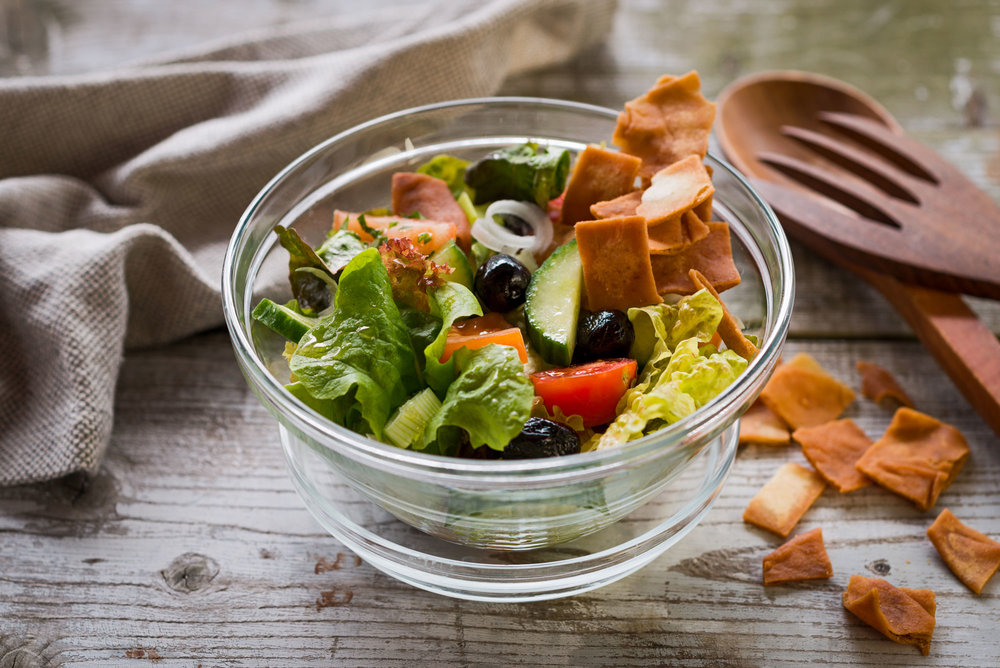 Famous Fatoush  green salad / tomato / cucumber / spring onions / croutons/ vinegar-voo dressing