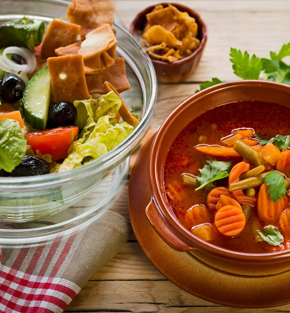 Salads & Soups - On the hunt for a quick and hearty snack? Try Zina's flavorful salads or Zina's beloved Lentil Soup prepared with lots of love and amazing herbs
