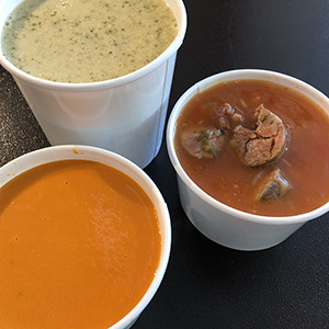Soups of the Day: 5/22 - We make them all from scratch in our kitchen, and then we send them out into the world.17th Ave:Sausage, Bean & Hominy   Tomato & Roasted Jalapeño   Tom Ka   Broccoli & CheddarColfax:Chorizo & Bean   Tomato & Roasted Jalapeño   Tumka (Vegan)