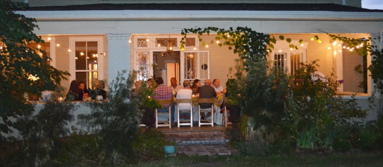 This is an actual photo from the actual Front Porch Dinner that happened on the actual front porch of Pete Marczyk and Barbara Macfarlane in the actual year of 2017.