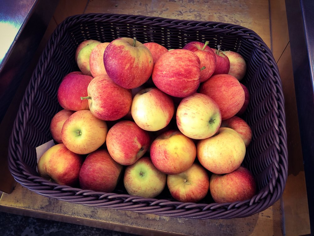 Ela Family Farms apples. And pears. And yum.