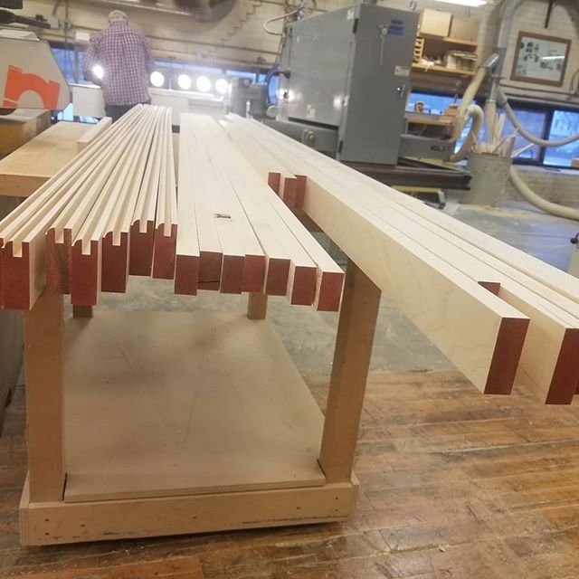 Back at it! Prepping stock for doors makes us happy, zen woodworkers. . . . Homestead Cabinetmakers  www.welovewoodworking.com  Custom Furniture & Cabinetry made in downtown Kalamazoo, Michigan . . . #woodworkersofmichigan #custom #maple #milling #zenwood #woodshop #femalewoodworkers #madeinmichigan #madeinkalamazoo