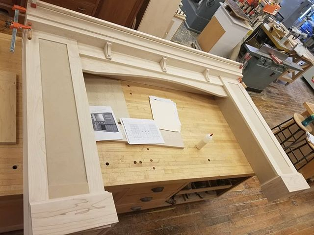 Check out the work we're doing on this custom mantelpiece. It'll be painted then headed to its home in Pennsylvania! Looking for custom woodwork? DM us! . . . Homestead Cabinetmakers  www.welovewoodworking.com Custom Furniture & Cabinetry made in downtown Kalamazoo, Michigan . . . #sawdusttherapy #customfurniture #customwoodwork #finewoodwork #woodshop #woodworkersofmichigan #woodworkersofinstagram #madeinmichigan #madeinkalamazoo #downtownkalamazoo #femalewoodworkers