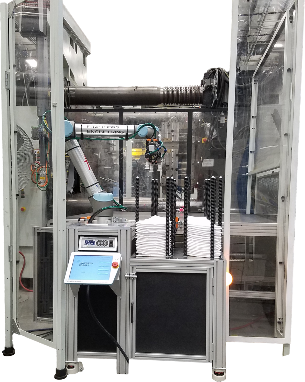 Collaborative Universal Robot, Pick and place, Ultrasonic welding, Automotive part, Fitz-Thors Engineering, Birmingham, AL