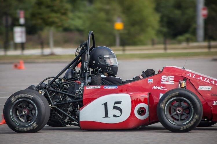 Fitz-Thors engineer, Matt Moody, test drives the University of Alabama's 2017 FSAE car.