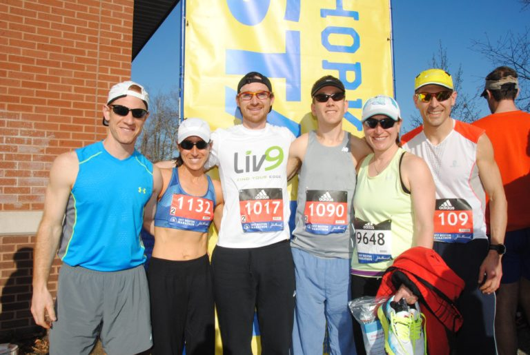 At the Boston Marathon athletes' village with family and friends. From left to right: Evan Doucet (husband), me, Nat Couture, Colin McQuade, Marcie Holland (sister), and Dan Leblanc