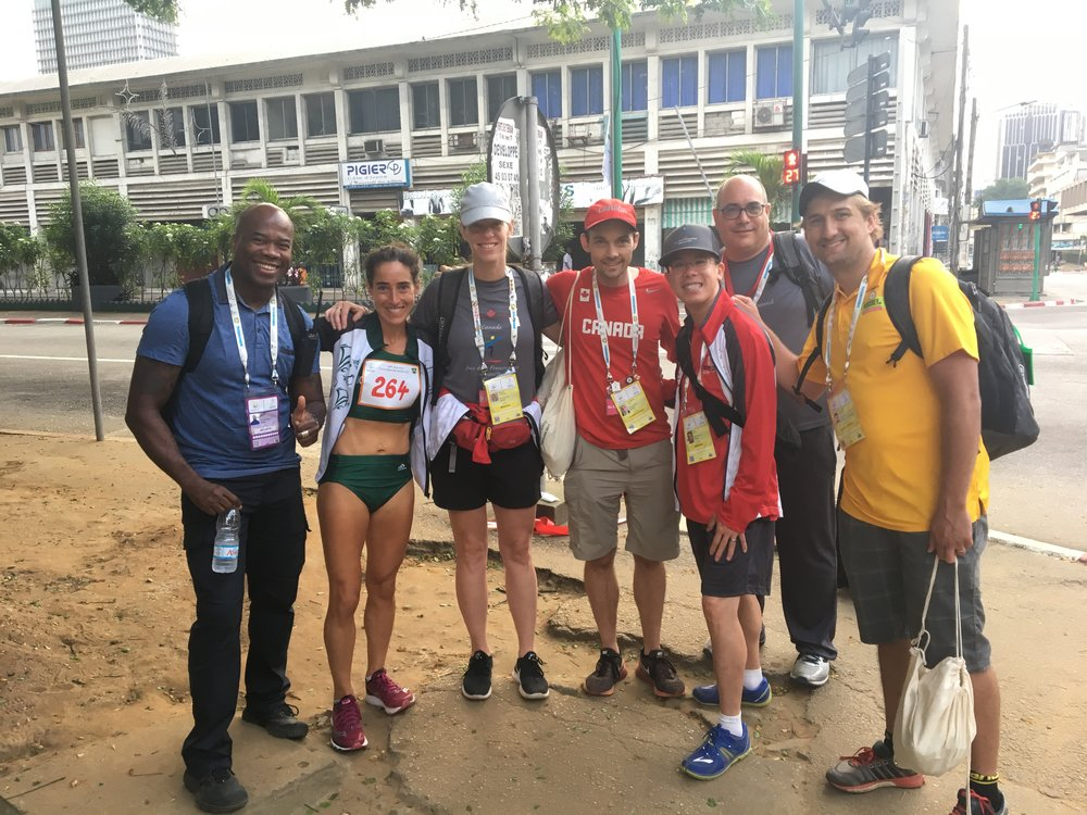 My support crew: Left to right: RCMP support, medical support / chiro extraordinaire (Caroline), personal coach / sounding board (John), physician / race day photographer (David), mission chief (Stephan), and NB team coach / the most amazing cheering support in the world (Gabe).