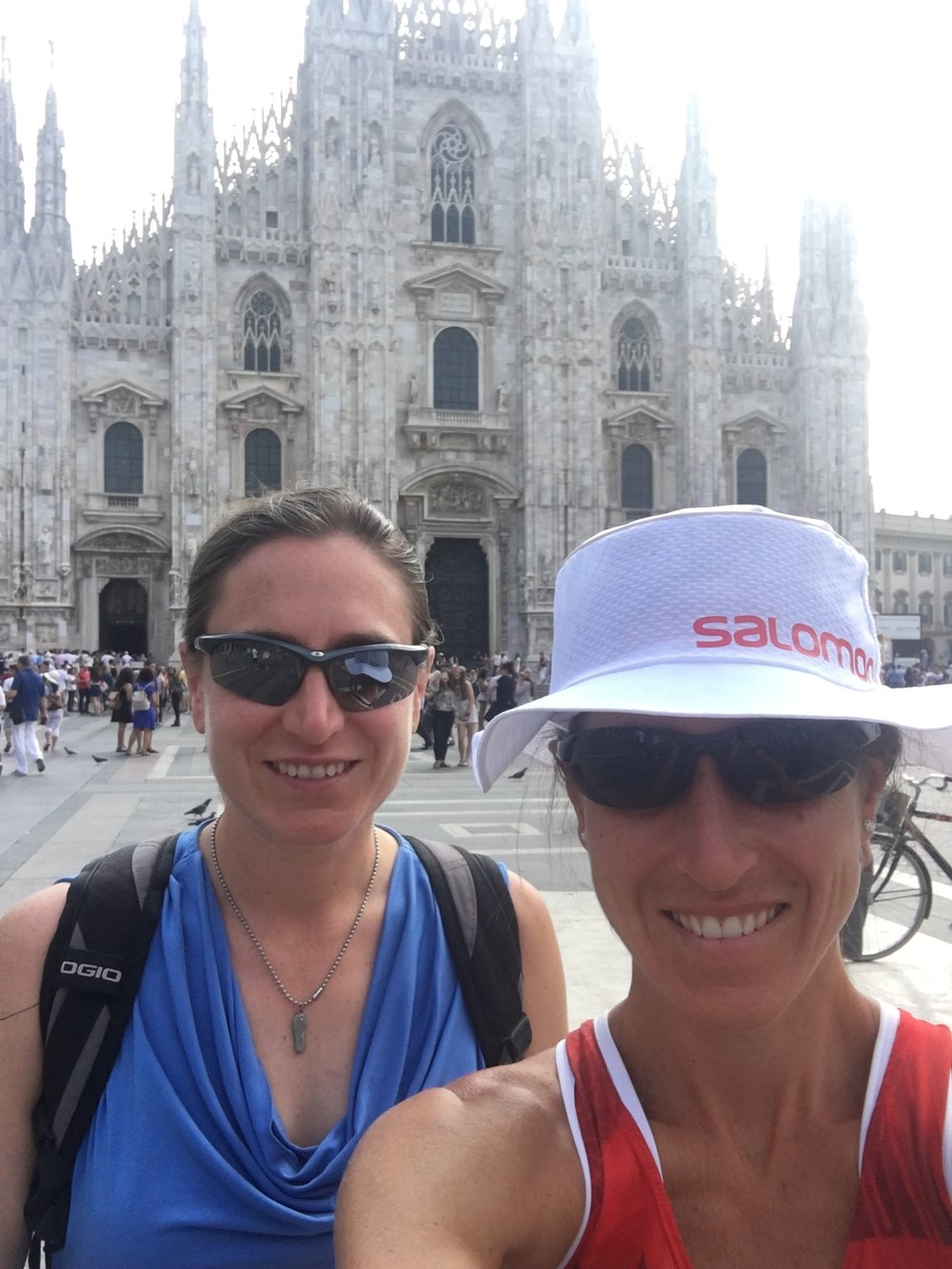 """Exploring Milan! Unfortunately we were not allowed in the church in the background as my running attire was """"too revealing""""."""