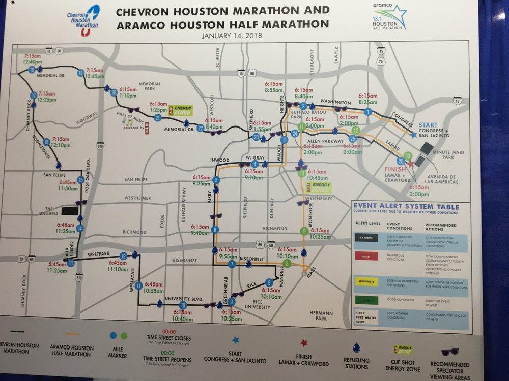 Houston Half Marathon Courses in Yellow