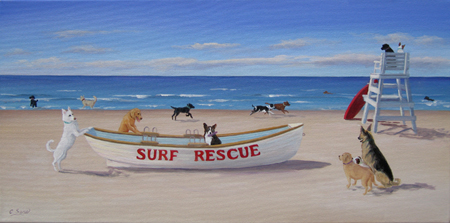 """Surf Rescue Tails,"" with gracious permission from Artist Carol Saxe (East Hampton, NY):  whose whimsical paintings delight,  evoking a fantasy of what we might wish to be."
