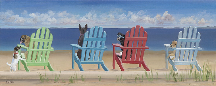 """With gracious permission:  Carol Saxe  (East Hampton, NY),  """"Rainbox Adirondack Chair Tails""""  (delight in more of her work at:  www.saxestudio.com )"""
