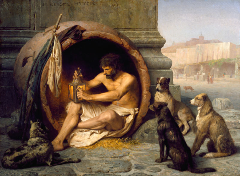 Jean-Leon Gerome: [Greek philosopher] Diogenes with Dogs