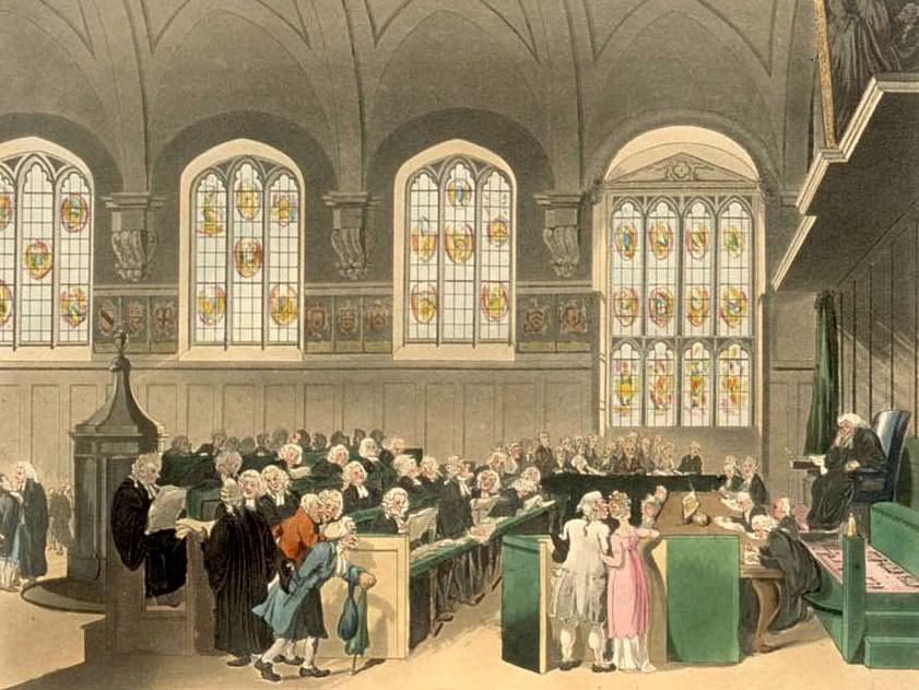 Court of Chancery, the govenor of fiduciary relationships, Lincoln's Inn Hall: Rowlandson, Pugin, Bluck, Stadler, Sutherland, Harraden