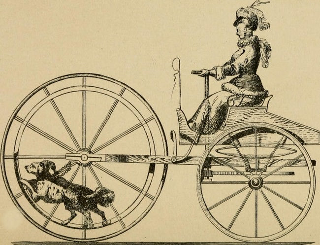 """Late 19th century patent application: dog powered """"bicycle"""""""