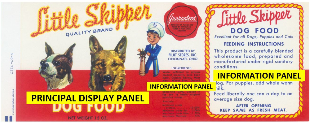 "FDA defines two areas of a dog food label, the principal display panel (PDP) and the information panel (sides and/or back). In this instance, the main ingredient is ''soya bean meal."" and there are two ""meat"" ingredients from un-named sources, including ""meat meal,"" a mix of unidentified species."
