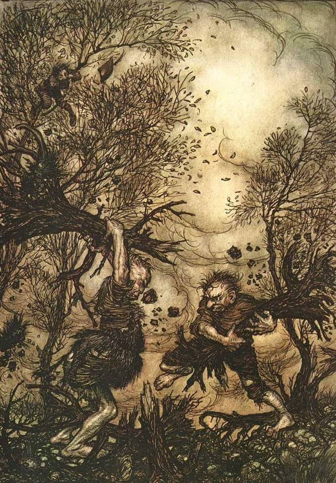 """""""And they worked themselves up into such a rage that they tore up trees by the roots, and hacked at each other till they both fell dead…"""" (""""The Valiant Tailor,"""" Arthur Rackham, 1906)"""