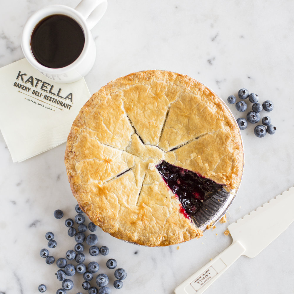 Katella Bakery blueberry pie and a cup of coffee