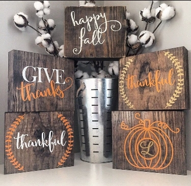 Your choice of three thankful words for three small wooden blocks. Blocks will be prepped ahead of time.