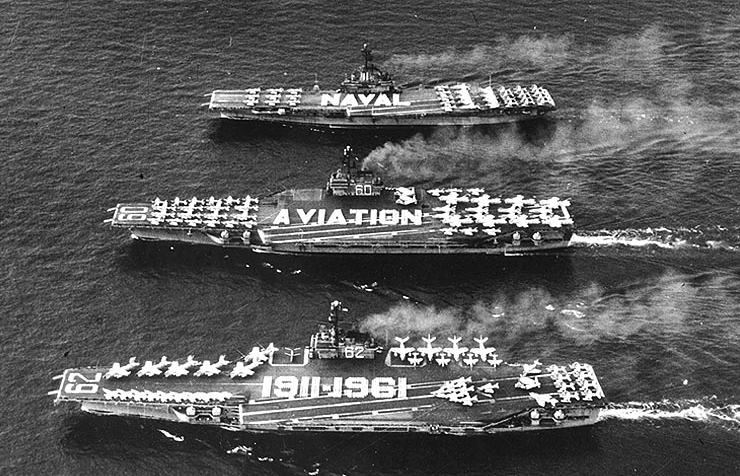 (USS Independence (CV-62), with sister ships, USS Saratoga (CV-60) and USS Intrepid (CV-11))