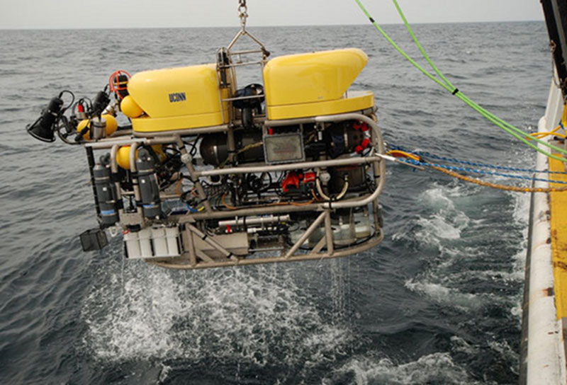 Pictured above is a large ROV being launched from Nancy Foster in 2012