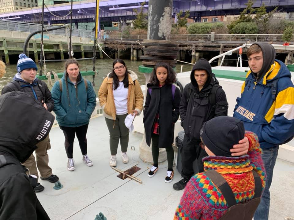 Chief Mate Fern gives a tour the historic Schooner Pioneer. A couple of our seniors have interned on the Pioneer and were able to share their perspectives with the class.