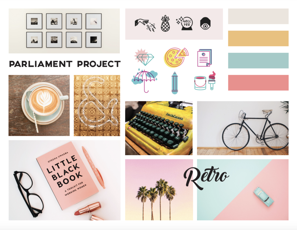 Another example... - The colors and assets in this mood board tell a compeltely different story. The pastels and retro washes inspire a carefree and creative vibe.