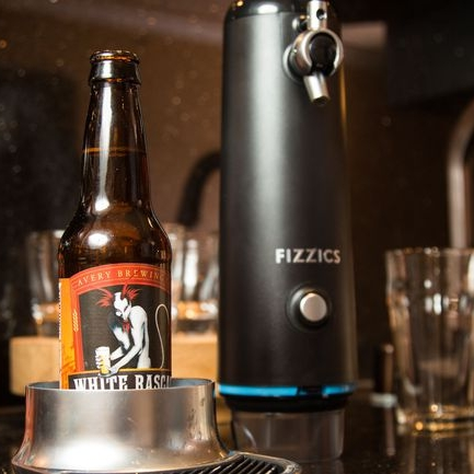 Fizzics Waytap - Jesus turned water into wine, Fizzics turns bottled beer into draft beer. You can help the newly graduated celebrate his future success with Fizzics Waytap.What Fizzics Waytap allows you to do is take any bottled beer and convert it into a draft style beer.Waytap uses micro foam technology to leverages fluid dynamics and sound. Start by putting your bottle in the machine, pull the handle forward to pour the beer under pressure maintaining the carbonation. Then once you push the handle backwards you begin the