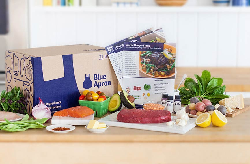 Blue Apron Gift Card - Blue apron offers Delicious meal kits right to your door. You can help make sure that the newly graduated can learn to prepare some great meals in between their busy schedule, because lets face it, the romen noodle diet she has been surviving on is not the balanced diet she deserves. Blue Aprons vision is to help build a more sustainable food system. They are doing this by developing better standards for higher quality ingredients. This is seen by blue aprons persistent avoidance of GMO ingredients and by their company making sure the animals are not fed antibiotics or hormones. Blue apron has even gotten a sustainable seafood recommendation by SeaFood Watch. If you are interested in teaching the graduate to cook, or insure that she is eating healthy and sustainable meals click here to be taken to their gift card page.