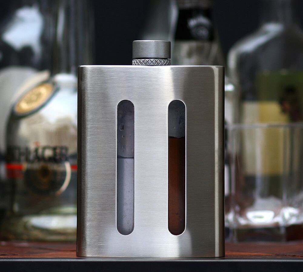 Dividere Double Flask - Let us take a moment to tout our own horn! The Dividere dual chambered flask was designed with gifting in mind. With two separate chambers and a neck piece that can pour one side, the other, or both at once, the Dividere flask is meant for sharing with loved ones.$90.00 CADGift sets availableLearn More
