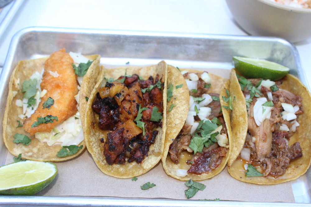 Left to Right: Baja Fish Taco, Chicken Pastor Taco, Roasted Duck Tacos (2)