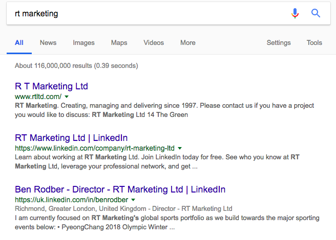 RTMarketing (My One) doesn't show us naturally on top of google search.