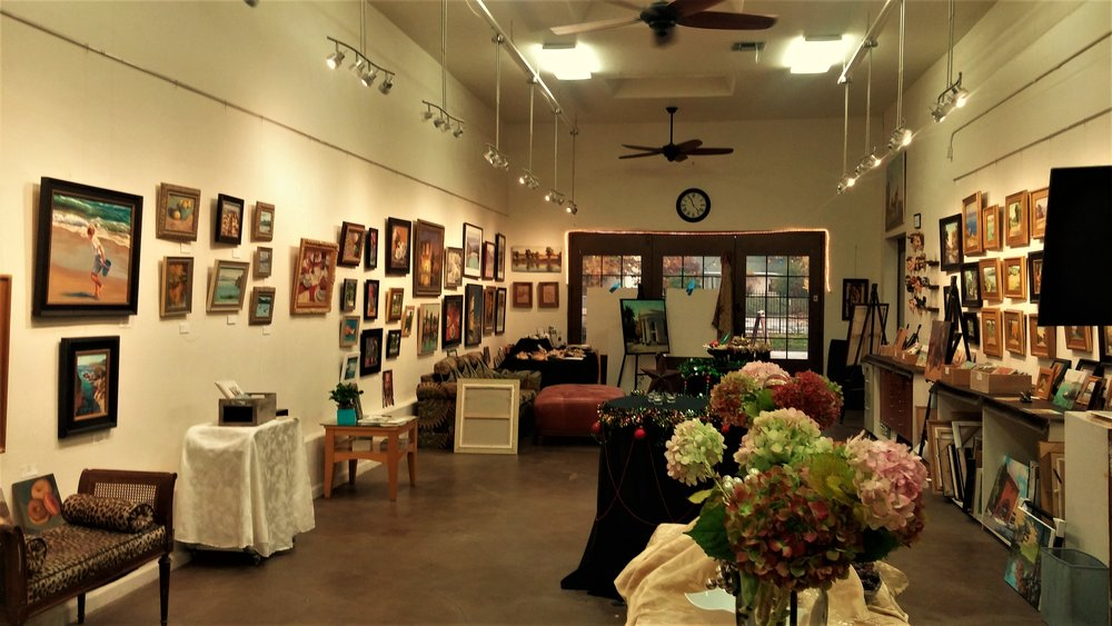 The gallery showcases a variety of styles of artwork by local artists mainly associated with the art happenings at the studio.